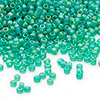 Seed bead, Dyna-Mites™, glass, frosted jade green AB, #11 round. Sold per 1/2 kilogram pkg.