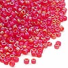Seed bead, Dyna-Mites™, glass, frosted red AB, #11 round. Sold per 40-gram pkg.