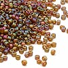Seed bead, Dyna-Mites™, glass, frosted root beer AB, #11 round. Sold per 1/2 kilogram pkg.