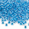 Seed bead, Dyna-Mites™, glass, inside color aqua, #6 round. Sold per 1/2 kilogram pkg.