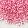 Seed bead, Dyna-Mites™, glass, inside color dusty rose, #8 round. Sold per 1/2 kilogram pkg.