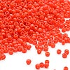 Seed bead, Dyna-Mites™, glass, opaque dark orange, #11 round. Sold per 1/2 kilogram pkg.