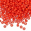Seed bead, Dyna-Mites™, glass, opaque dark orange, #6 round. Sold per 40-gram pkg.