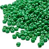 Seed bead, Dyna-Mites™, glass, opaque green, #8 round. Sold per 1/2 kilogram pkg.