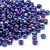 Seed bead, Dyna-Mites™, glass, opaque rainbow dark blue, #6 round. Sold per 1/2 kilogram pkg.
