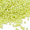 Seed bead, Dyna-Mites™, glass, opaque rainbow light green, #11 round. Sold per 1/2 kilogram pkg.