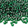 Seed bead, Dyna-Mites™, glass, silver-lined emerald green, #6 round. Sold per 40-gram pkg.