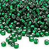 Seed bead, Dyna-Mites™, glass, silver-lined emerald green, #6 round with square hole. Sold per 40-gram pkg.