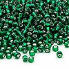 Seed bead, Dyna-Mites™, glass, silver-lined emerald green, #8 round. Sold per 40-gram pkg.