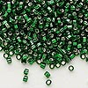 Seed bead, Dyna-Mites™, glass, silver-lined emerald green, #8 round with square hole. Sold per 40-gram pkg.