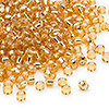 Seed bead, Dyna-Mites™, glass, silver-lined gold, #8 round. Sold per 1/2 kilogram pkg.