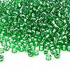 Seed bead, Dyna-Mites™, glass, silver-lined green, #8 round. Sold per 40-gram pkg.