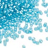 Seed bead, Dyna-Mites™, glass, silver-lined matte aqua, #11 round with square hole. Sold per 40-gram pkg.