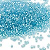 Seed bead, Dyna-Mites™, glass, silver-lined matte light aqua, #11 round with square hole. Sold per 1/2 kilogram pkg.