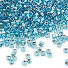 Seed bead, Dyna-Mites™, glass, silver-lined rainbow aqua, #11 round with square hole. Sold per 1/2 kilogram pkg.