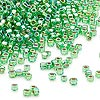 Seed bead, Dyna-Mites™, glass, silver-lined rainbow lime, #11 round with square hole. Sold per 40-gram pkg.