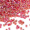 Seed bead, Dyna-Mites™, glass, silver-lined rainbow ruby, #11 round with square hole. Sold per 1/2 kilogram pkg.