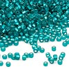 Seed bead, Dyna-Mites™, glass, silver-lined teal blue matte, #11 square hole. Sold per 40-gram pkg.