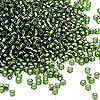 Seed bead, Dyna-Mites™, glass, silver-lined transparent olive green, #11 round. Sold per 1/2 kilogram pkg.
