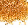 Seed bead, Dyna-Mites™, glass, transparent amber yellow, #8 round. Sold per 40-gram pkg.