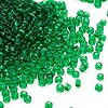 Seed bead, Dyna-Mites™, glass, transparent emerald green, #11 round. Sold per 40-gram pkg.