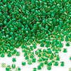 Seed bead, Dyna-Mites™, glass, transparent inside color lime green/yellow, #11 round. Sold per 1/2 kilogram pkg.
