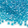 Seed bead, Dyna-Mites™, glass, transparent rainbow inside color teal, #6 round. Sold per 1/2 kilogram pkg.