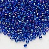 Seed bead, Dyna-Mites™, glass, transparent rainbow iris blue, #8 round. Sold per 40-gram pkg.