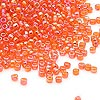 Seed bead, Dyna-Mites™, glass, transparent rainbow orange, #11 round. Sold per 1/2 kilogram pkg.