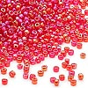 Seed bead, Dyna-Mites™, glass, transparent rainbow ruby, #11 round. Sold per 1/2 kilogram pkg.