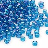 Seed bead, Dyna-Mites™, glass, transparent rainbow teal, #6 round. Sold per 40-gram pkg.