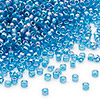 Seed bead, Dyna-Mites™, glass, transparent rainbow teal blue, #11 round. Sold per 40-gram pkg.
