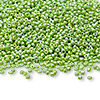 Seed bead, Ming Tree™, glass, opaque rainbow lime green, #11 round. Sold per pkg of 1 pound.
