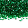 Seed bead, Ming Tree™, glass, transparent emerald green, #11 round. Sold per pkg of 1 pound.