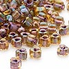 Seed bead, Miyuki, glass, amber yellow color-lined lilac, (TR1167), #5 triangle. Sold per 250-gram pkg.