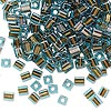 Seed bead, Miyuki, glass, blue color-lined brown, (#SB2642), 3.5-3.7mm square. Sold per 25-gram pkg.
