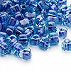 Seed bead, Miyuki, glass, light blue color-lined dark blue, (TR1828), #5 triangle. Sold per 250-gram pkg.