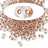 Seed bead, Preciosa Twin™, Czech glass, copper-lined clear, 5x2.5mm oval with 2 holes. Sold per 10-gram pkg.
