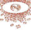 Seed bead, Preciosa Twin™, Czech glass, peach-lined clear terra, 5x2.5mm oval with 2 holes. Sold per 50-gram pkg.