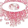 Seed bead, Preciosa Twin™, Czech glass, rose-lined clear terra, 5x2.5mm oval with 2 holes. Sold per 50-gram pkg.