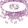 Seed bead, Preciosa Twin™, Czech glass, violet-lined clear terra, 5x2.5mm oval with 2 holes. Sold per 50-gram pkg.