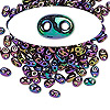 Seed bead, Preciosa Twin™, glass, iris rose, 5x2.5mm oval with 2 holes. Sold per 50-gram pkg.