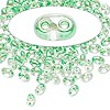 Seed bead, Preciosa Twin™, glass, light green-lined clear terra, 5x2.5mm oval with 2 holes. Sold per 10-gram pkg.