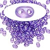Seed bead, Preciosa Twin™, glass, transparent lilac terra pearl, 5x2.5mm oval with 2 holes. Sold per 10-gram pkg.