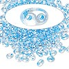 Seed bead, Preciosa® Twin™, glass, sky blue-lined clear terra, 5x2.5mm oval with 2 holes. Sold per 10-gram pkg.