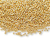 Seed bead, glass, 24Kt gold-finished (Miyuki #191), #15 round rocaille. Sold per 35-gram pkg.