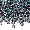 Seed bead, glass, two-toned silver-lined aquamarine blue/plum, 3-4mm irregular round. Sold per pkg of 25 grams.