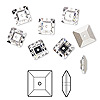Sew-on bead, Swarovski crystal rhinestone, crystal clear, foil back, 8x2.5mm faceted square lochrose (3400). Sold per pkg of 6.