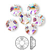Sew-on component, Swarovski crystal, crystal AB, foil back, 10mm Xilion flat back (3204). Sold per pkg of 6.