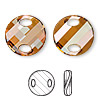Sew-on component, Swarovski crystal, crystal copper, 18mm twist (3221). Sold per pkg of 2.
